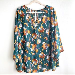 PaperMoon 70's Inspired Floral Keyhole Blouse
